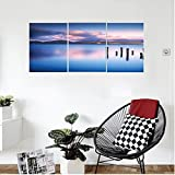 Liguo88 Custom canvas Apartment Decor Wooden Pier Tops RemaIn In Lake With Sunset Mirror Image Out Different Perspectives Bedroom Living Room Decor Royal Blue