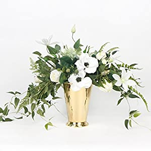 G Home Collection White Anemone Flower and Green Leaf Bouquet with Gold Metal Vase 47