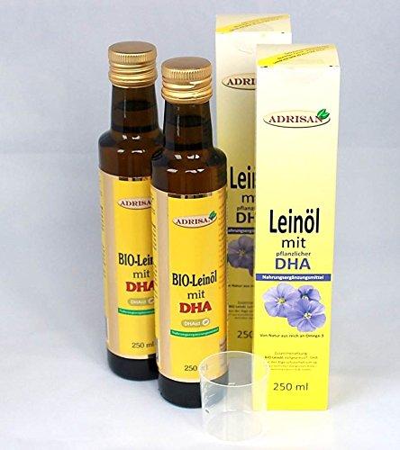 Adrisan BIO-Leinöl mit DHA 2er Pack (2x 250 ml) mit Dosierer, natives Speiseöl aus 1. Kaltpressung (500)