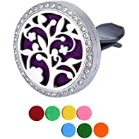 Stainless Steel Aromatherapy Essential Oil Diffuser Locket Clip Premium Car Air Freshener Aromatherapy with 7 Color Refill Pads (Tree of life)