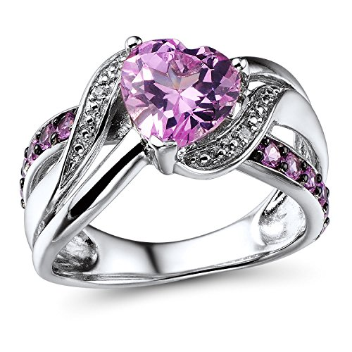 Lab Created Pink Sapphire Ring with Diamond Accent in Sterling Silver with Black Rhodium Accents - Size 6.75