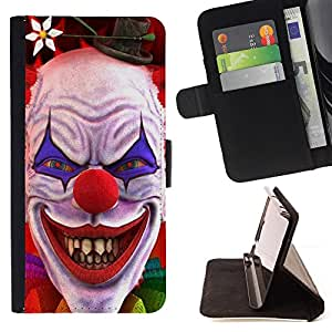 For Samsung Galaxy S6 active/G870A/G890A (Not Fit S6) Clown Evil Smile Devil Red Eyes Creepy Style PU Leather Case Wallet Flip Stand Flap Closure Cover