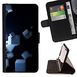 DEVIL CASE - FOR Samsung Galaxy S4 IV I9500 - Cubes - Style PU Leather Case Wallet Flip Stand Flap Closure Cover