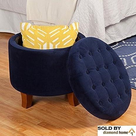 Dark Navy Blue Ottoman Round With Legs, This Large Button Tufted Round Storage  Ottoman Features