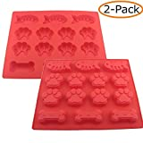 WQYK 2-Pack 14-cavity Mixed Food Grade Large Mats Trays, Puppy Pets Dog Paws & Bones & Fish Silicone Baking Molds, Bake Dog Cat Treats For Pets, Kids, Dog-lovers, Kitchen Tips