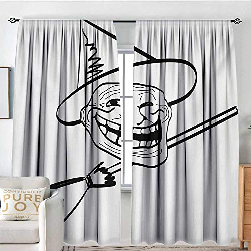 NUOMANAN Home Decoration Thermal Insulated Curtains Humor,Halloween Spirit Themed Witch Guy Meme LOL Joy Spooky Avatar Artful Image Print,Black and White,for Bedroom,Nursery,Living Room 54