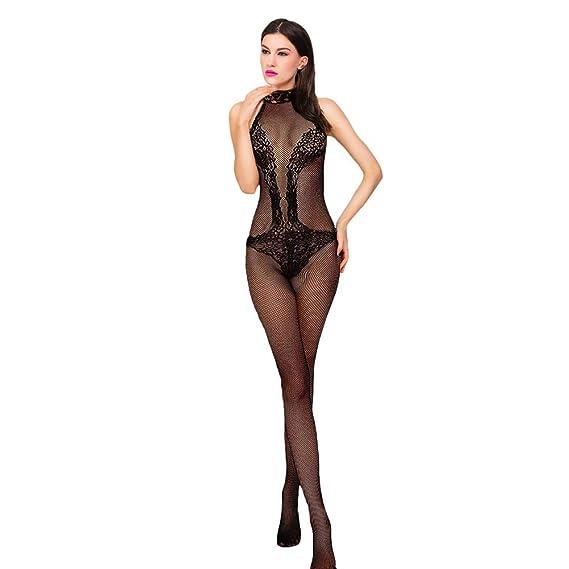 BaZhaHei-Productos para adultos, Ropa Interior combinada de Malla del Lencería Sexy Transparente Negro Erótica Condole Body para Mujeres de Productos de ...
