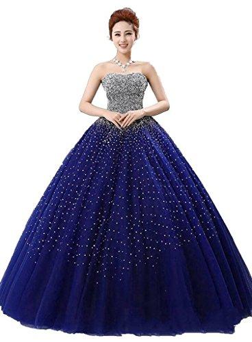 Robe De Bal Perles De Femmes Angela Quinceanera Robes Longues Pageant Bleu Royal