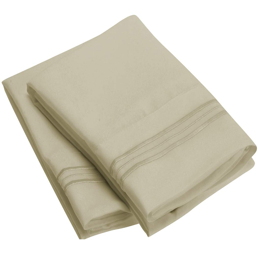 Mellanni Luxury Pillowcase Set - Brushed Microfiber 1800 Bedding - Wrinkle, Fade, Stain Resistant - Hypoallergenic (Set of 2 Standard Size, Beige)