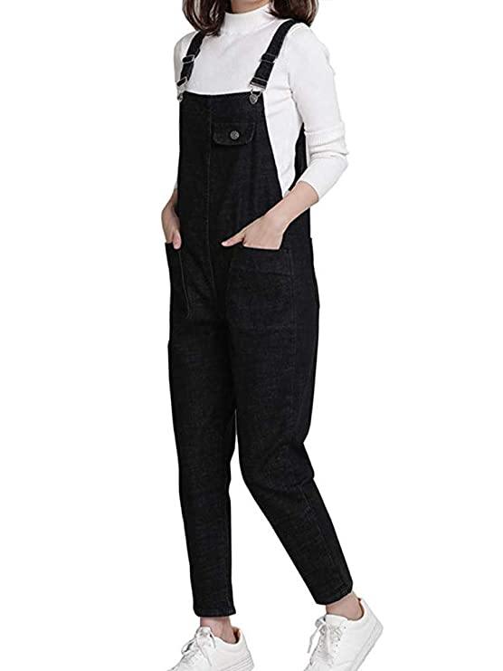 373e2558bb3e Amazon.com  Gooket Women s Regular Fit Denim Dungarees Casual Long Denim  Bib Overalls Jumpsuit Playsuit Jeans Pant Trousers  Clothing