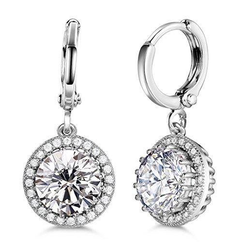GULICX Silver Tone Round Clear CZ Zircon Rhinestone Drop Dangle Earrings