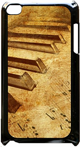 Music Around the World - Piano with Music Notes and Map Imprint Black plastic snap on case - for the Apple iPod iTouch 4th Generation. (Piano Case For Ipod 4)