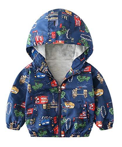 lymanchi Kids Baby Boy Casual Windbreaker Outerwear Dinosaur Printed Zipper Hooded Jackets Coat Car 5T ()