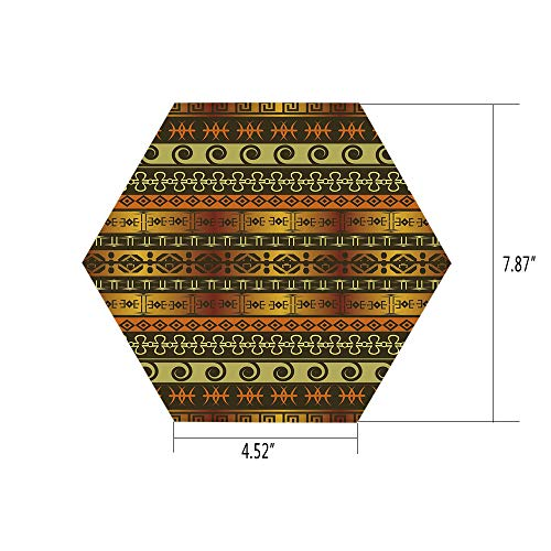 iPrint Hexagon Wall Sticker,Mural Decal,Zambia,Ethnic Ornamental Abstract Heritage Traditional Ceremony Ritual Image,Gold Dark Brown Orange,for Home Decor 4.52x7.87 10 Pcs/Set