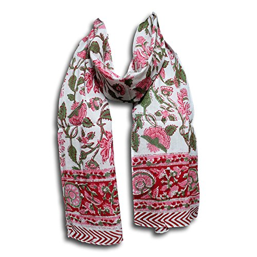 Women's Fashion Lightweight Long Big Floral Scarf Hand Block Print Wrap Soft 100% Cotton Neck Head Scarf Stole (72 x 15 inches, Red Pink Green)