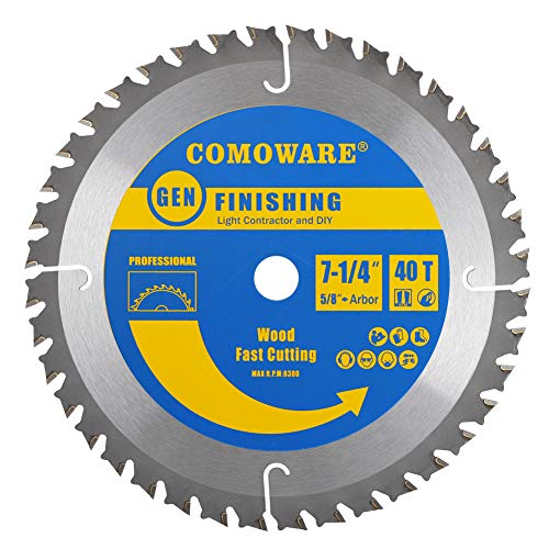 COMOWARE Circular Saw Blades 7 1/4 inch- 40 Tooth TCG, Premium Tip, Anti-vibration with 5/8 inch Arbor Light Contractor and DIY General Purpose for Wood, Laminate, Veneered Plywood & Hardwoods