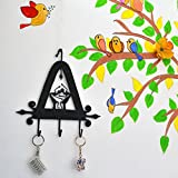 Chinhhari Arts, Original Creative Wrought Iron Tribal Dance Key Chain Holder for Entryway, Kitchen, Office, Living Room, Wall Decor Art - Wall Mount (9.5 X 9.5 X 1 inch)