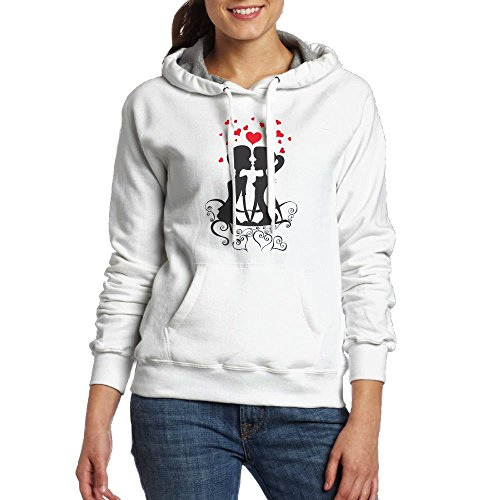 Purple Bfdfd Love Couple On The Bench Hooded With Organic Pullover Sweatshirt Pockets For Women (White Great Saltwater Series Bow)