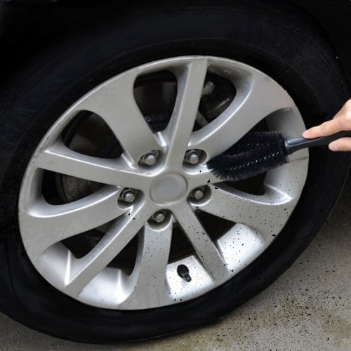 HITSAN INCORPORATION [UK Stock] KANEED Portable Loop Style Auto Car Vehicle Motorcycle Wheel Tire Rim Hub Scrub Wash Brush Washing Cleaning Tool(Black)