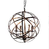 JinYuZe Retro Industrial Metal Cross Orb 4-Light Candle Chandelier Pendant Lighting Fixture, Antique Brass