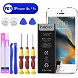 Battery Suitable for iPhone 5s/5c with Complete Repair Tools Kit and Instructions -ICHECKEY-1650 mAh Replacement External Li-Ion Battery Pack [12 Months Warranty]