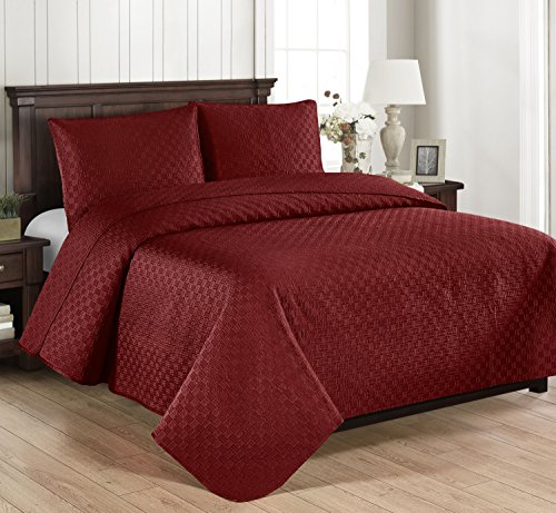 Brielle Home Basket Weave Quilt Set, Full/Queen, Red