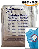 Dental Medical Latex Free Disposable Isolation Gowns Knit Cuff Non Woven | Fluid Resistant (10 Gowns / Pack, White)