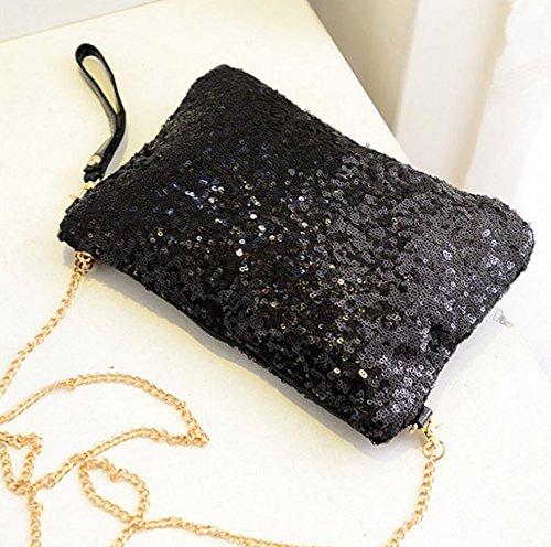 Clutch CC CD Handbag Black Envelope Evening Sequined Purse Party Vintage aaZ0r