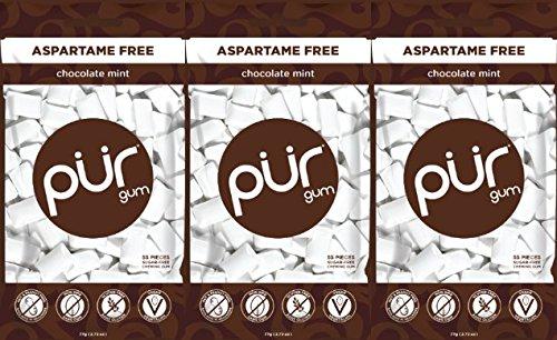 Pur Gum Gum Sugar Free Chocolate Mint Bag, 55 Pieces, 3 Count
