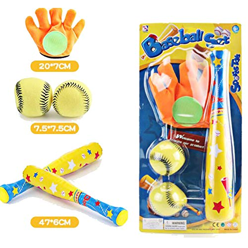 PowerGaga EVA Foam Toy Baseball Set 4pcs/Set Baseball Toy Set 1pc Baseball Glove (Random Color)+2pcs Soft Ball + 1pc Baseball Bat Outdoor Sport Baseball Set for Kids Boys Adults