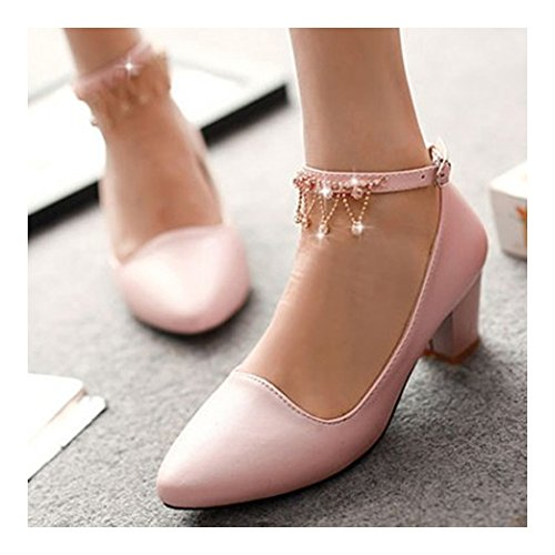 cut Shoes Heel Sweet 39 Thick High Princess Thin pink Low HwZdqOpI0p