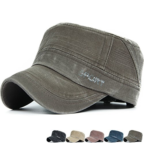 REDSHARKS Washed Cotton Cadet Cap Military Army Hat Various Style Sports Print Olive
