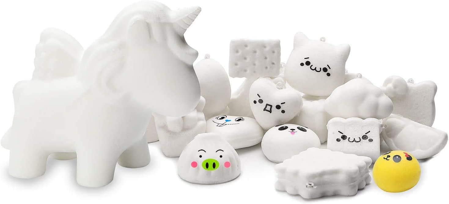 WATINC Random 11 Pcs DIY Animals Squishy, 1Pcs Unicorn+10Pcs White Mini Squishy Creamy Kawaii Soft Food Squishy Keychains, Phone Straps,Bonus Random Stickers for Education Toys