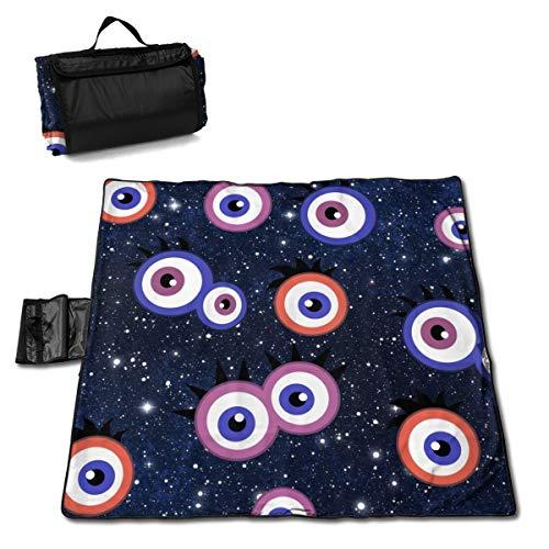 TARDIGA Funny Halloween Monster Eyeball Portable Large Picnic Blanket 57