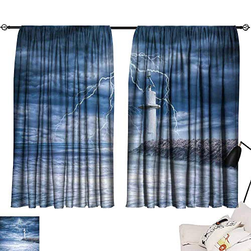 Printed Curtain Lighthouse Decor Lighthouse Thunderstorm Turbulent Wind Moody Weather Dramatic Sky Scene Decor Curtains by W63 x L45 (The Amazing Spider Man 2 Final Scene)