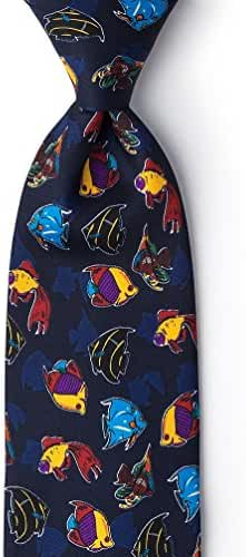 Colorful Fish Navy Blue Microfiber Tie