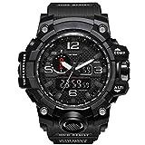 Bounabay Men's Military Digital Sport Watch Water Resistant Outdoor LED Back Light Display,Black