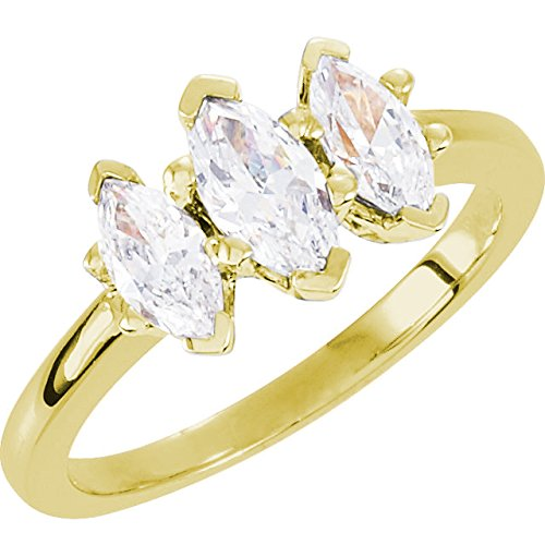 1 Carat 14K Yellow Gold Marquise Cut 3 Three Stone Diamond Engagement Ring (F Color SI2 Clarity)