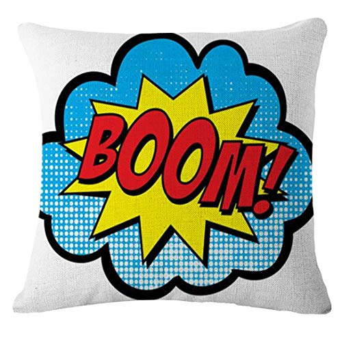 GBSELL Pillow Cover Letter Throw Pillow Case Cafe Home Party Christmas Halloween Decor Cushion (Boom) -