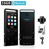 16GB Bluetooth MP3 Player with FM Radio/ Voice Recorder, Lossless Sound, Metal Touch button , 1.8 Inch Color Screen, 50 Hours Playback, HD Sound Quality Earphone , with an Armband, Black