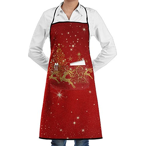 Louise Morrison Gold Christmas Trees And Reindeer Women Men Kitchen Adjustable Bib Apron With Pockets ()