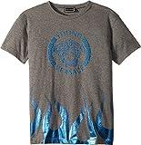 Versace Kids Boy's Short Sleeve Medusa Logo T-Shirt w/Flames (Big Kids) Grey 9-10