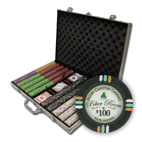Claysmith Gaming 1,000 Ct Bluff Canyon Poker Set - 13.5g Clay Composite Chips with Aluminum Case, Playing Cards, Dealer Button ()