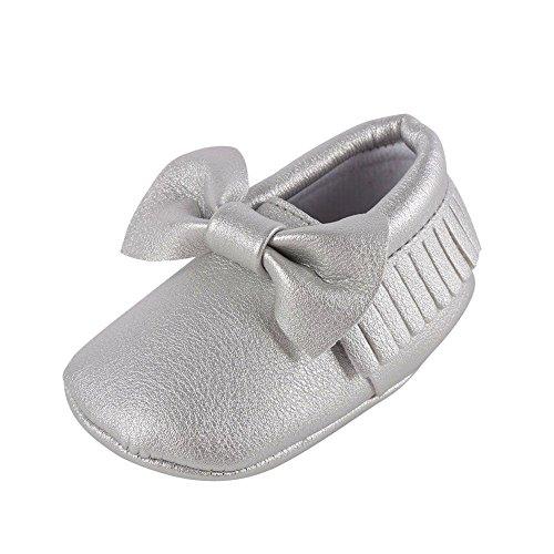 Weixinbuy Baby Boys Girls Soft Soled Tassel Bowknots Crib Shoes PU Moccasins,#F,12-18 Months/6.5M-7M/5.32inch