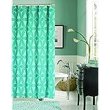 Dainty Home Iris Heavy Jacquard Fabric Shower Curtain, Aqua