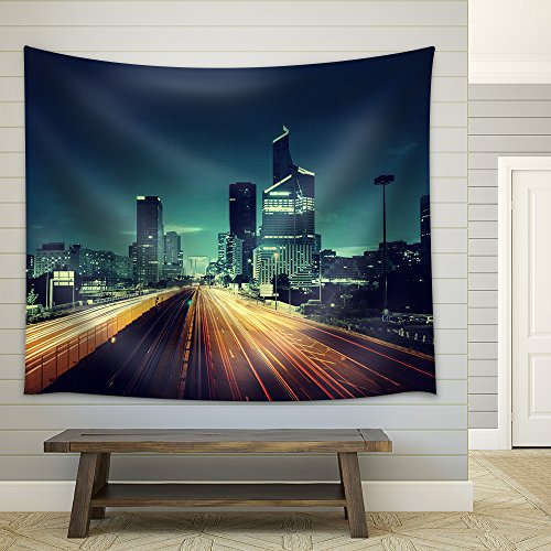 wall26 - Paris Ladefense in Sunset Time, France - Fabric Wall Tapestry Home Decor - 68x80 - Sunset Time France In Paris