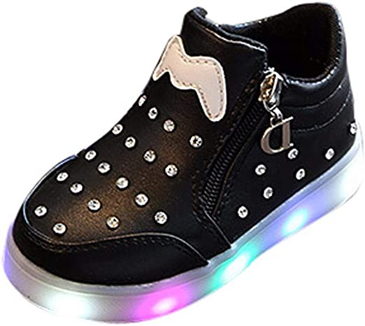 Kids Sneakers Luminous LED Sports Shoes Lace Up Girls Light Up Trainers Bow-knot