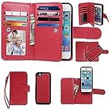 iPhone 5C Case, xhorizon TM SR Premium Leather Folio Case [Wallet Function] [Magnetic Detachable] Fashion Wristlet Purse Soft Flip Multiple Card Slots Case Cover for iPhone 5C - Red