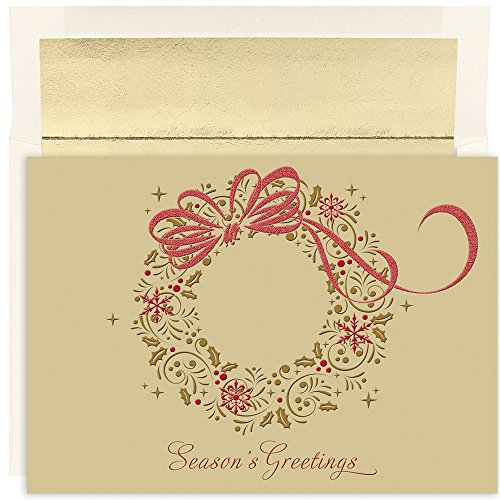 - Great Papers! Holiday Greeting Card, Gold Shimmer Wreath, 16 Cards/16 Envelopes, 7.875