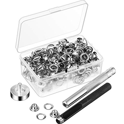 Pangda Grommet Tool Kit, Grommet Setting Tool and 100 Sets Grommets Eyelets with Storage Box (1/4 Inch Inside - Tapestry Trim